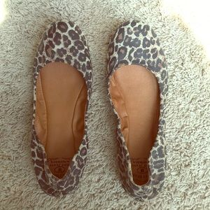 Lucky Brand leather leopard flats size 9